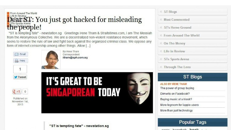 Anonymous-hacked-straits-times-blog-post