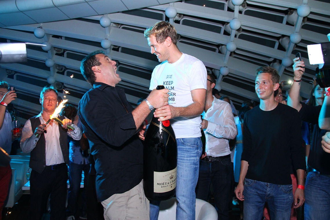 Founder of Podium Lounge Robbie Hoyes-Cock presenting a 12L (Balthazar) Moet & Chandon