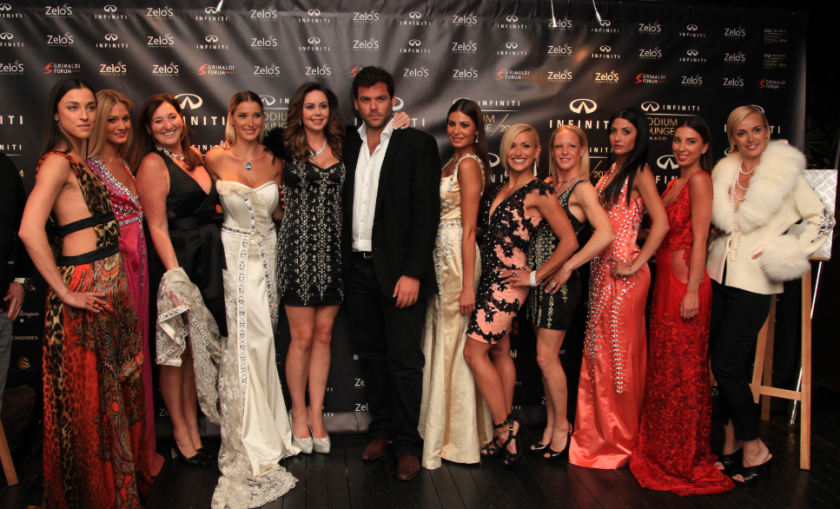 Robbie, Founder & CEO of The Podium Lounge with Nina Naustdal and her Fashion Show models at The Infiniti Podium Lounge Monaco 2014