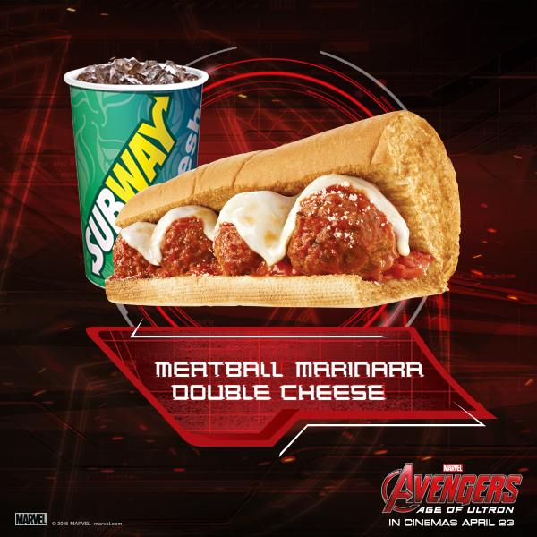 Subway Avengers  Meatball Marinara Double Cheese